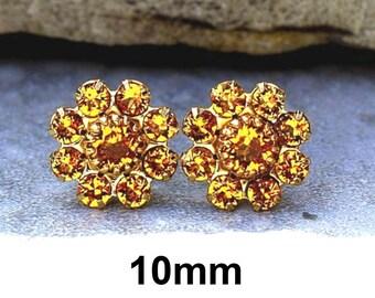 10mm Topaz Gold Cluster Earrings, Topaz Rhinestone Studs, Cluster Earrings, November Birthstone Studs