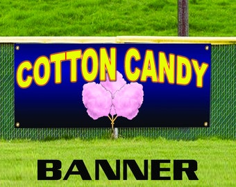 Cotton Candy Fairy Floss Sugar Concession Stand Carnival Vinyl Banner Sign