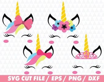 Unicorn svg, Unicorn svg files, Unicorn hair, Unicorn face svg, Unicorn cricut, Unicorn cut file, Crown svg, Flower svg, Bow svg, Bow cricut