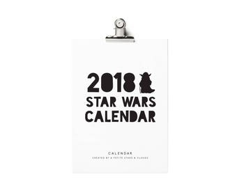 2018 Printable Calendar, 2018 Batman Calendar, Batman Calendar, Monthly Wall Calendar 2018, Star Wars, Darth Vader Calendar, Yoda Calendar