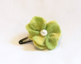 Hair Barrette - needle felted flower - Chartreuse Green and Yellow with  Pearl - Hair Clip - Felt Flower - Needlefelt Flower - Gift for Girl