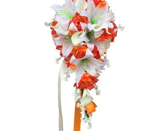 Cascade bouquet:Shades of Orange rose,lily with Real touch calla lily
