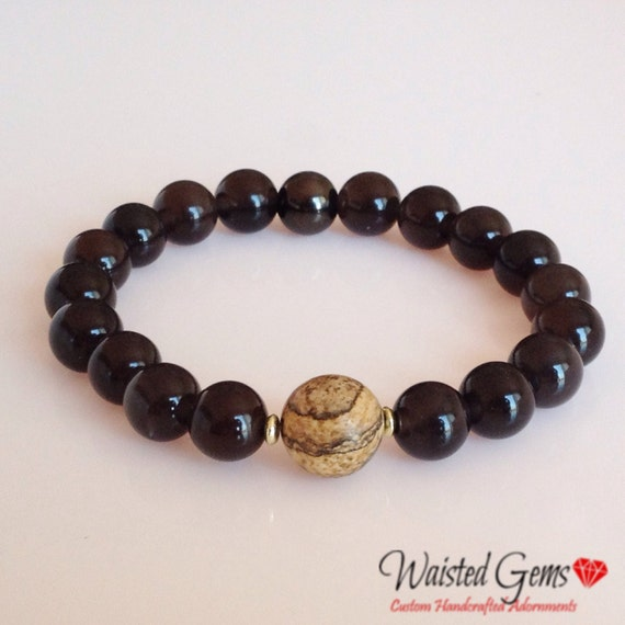 Men's Black Onyx, Picture Jasper 10mm Bead Bracelet,  Gifts for him, Fathers Day, Birthday GiftsZMW-12