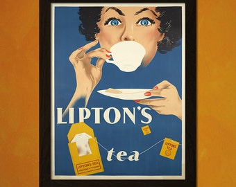 Lipton's Tea Poster - Food Poster Kitchen Decor Vintage Poster Kitchen Home Decor Home Decorating Food Prints  t