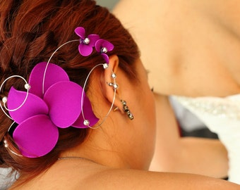 Purple fascinator Bridesmaid headpiece Eggplant fascinator Purple hairpiece Wedding hair comb Wedding headpiece   Hair comb