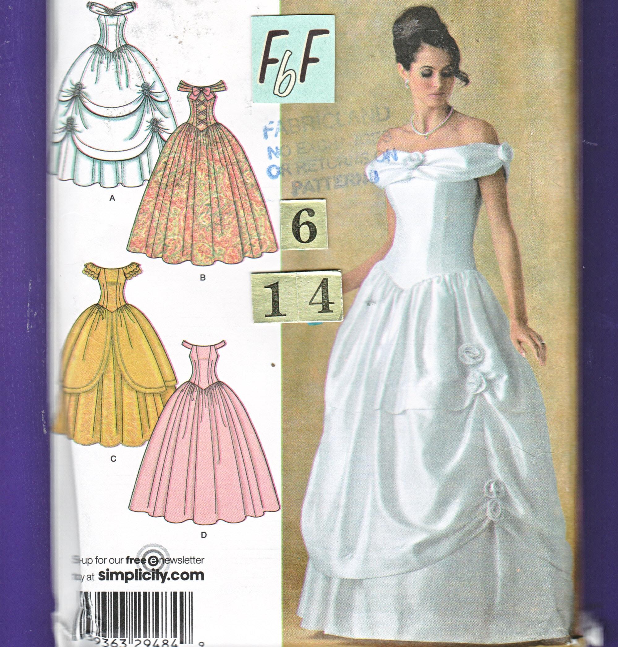 Off Shoulder Southern Belle Wedding Dress Sewing Pattern/ Simplicity ...