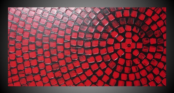 Awesome Black And Red Painting On Large Canvas Wall Art Deco Squares