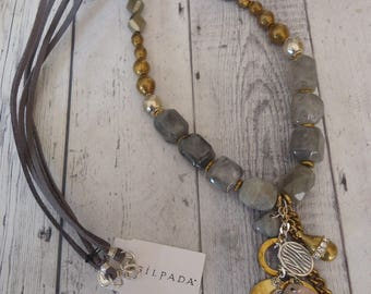 """SILPADA Retired Ethereal N3244 Gemstone Necklace w/ Sterling, Brass, Pyrite and Labradorite Beads, 30"""""""