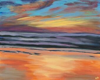 San Diego Beach Sunset acrylic painting