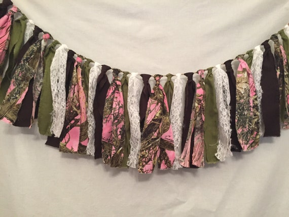 Pink Camo Fabric Garland/Pink Camouflage Decorations/Camo Baby