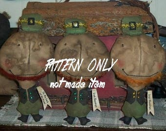 Leprechaun  epattern-NOT DoLL Primitive St. Patty's Day  doll 171e Crows Roost Prims epattern Immediate Download