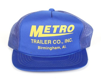 Vintage Blue Trucker Cap / Metro Mens Hat / Birmingham Alabama Cap / Mens Trucker Hat Cap / Trucker Cap / Baseball Cap / Womens Baseball Hat