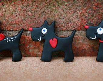 Cute black dog magnet, Scottish terrier, Handmade decoration, Black puppy with heart, Dog lover gift, Scottie dog magnet
