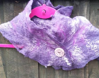 Purple wet felted cowl, neck warmer