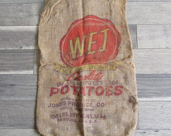 """Vintage Washington State WEJ """"We Eat Jones"""" Potato Sack, Gunney Sack, Burlap Bag"""