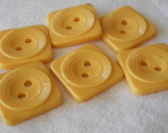 Set of 6 VINTAGE Square Yellow Plastic Sew Thru BUTTONS