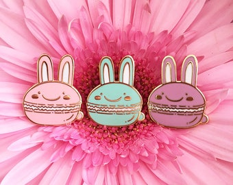 Bunny Macaron - Hard enamel pin - kawaii accessories, cute enamel pin, rabbit lapel pin, cute bunny enamel pin, rabbit pin, cute bunny pin