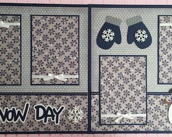 """2 Premade """"Snow Day"""" Scrapbook Pages, 12x12 Layout, Paper Piecing, Snow, Winter, Snowmen, Christmas, Handmade"""