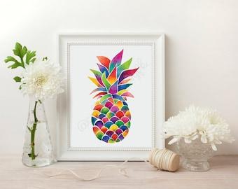 Colourful Watercolour Pineapple