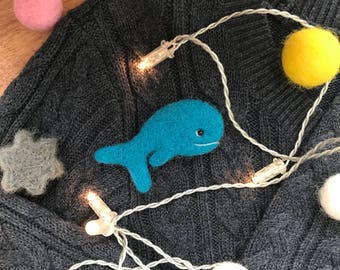 Animal brooch, Whale brooch, Felt whale, Whale toy