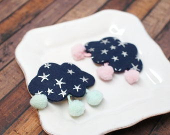 Cute Cloud with Pompom Snap Clip - select color - Alligator Hair Clip - for all ages