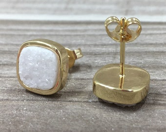 Sparkly White Agate Druzy Square Bezel Earring, Agate Druzy Stud Earring, Gold Agate Drusy Druzzy Jewelry Charm Earring For Women Ladies