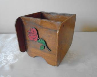 folk ware hand made trough rose /swans hand painted