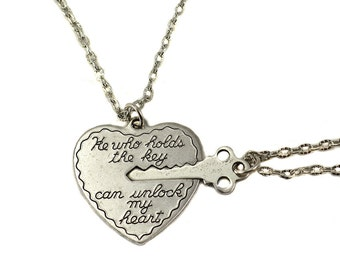 Key to My Heart Necklace, Heart and Key Necklaces,  Boyfriend Girlfriend Necklaces, Unlock My Heart Two Necklace Set, valentines day gift