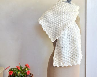 Snowy White Merino Wrap / Shawl Hand Knit Super Soft Light Washable Wool Scarf