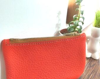 """""""Chocolate"""" orange clutch purse"""