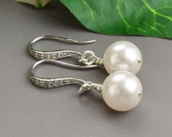 Weiße Perle Ohrringe Braut - Brautjungfer Ohrringe - weiße Perle Ohrringe Silber - Hochzeitsohrringe - Brautschmuck - Perlenschmuck