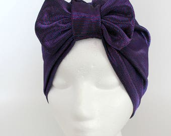 Beautiful Purple Turban, Removable Bow Turban, Party Turban, Fancy Turban, Glam Turban, Bow Turban, Fancy Turban, Party Hat, Purple Turban