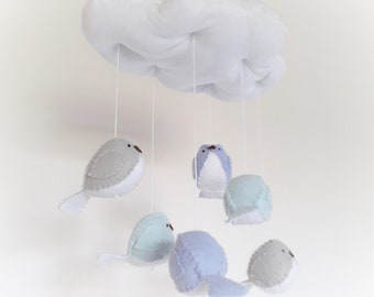 Blue baby mobile - blue and grey bird nursery decoration