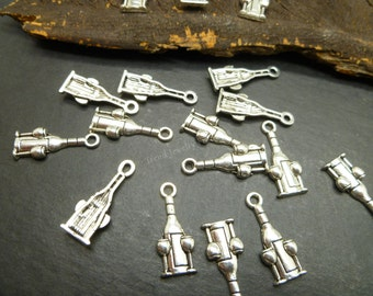 10 pc wine Charms in Silver Tone - Wine Glass and Bottle Charms - Celebration Theme - jewelry making findings - MC0926