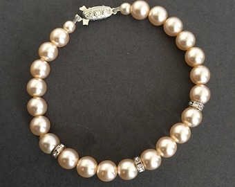 Vintage Faux Pearl Paste Rhinestone Bracelet With Decorative Clasp