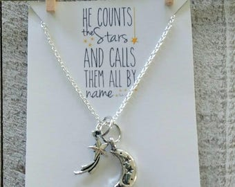 Moon and Stars Necklace -He counts the stars and calls them all by name - Christian Jewelry - Silver