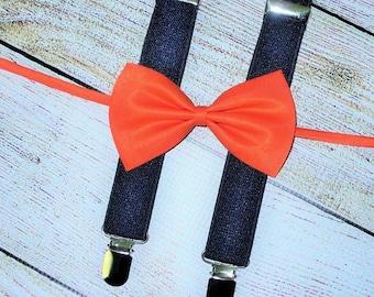 Burnt Orange Bow Tie Midnight Blue Suspenders Baby Boys Bow Tie Suspenders, boys first birthday outfit, photo prop