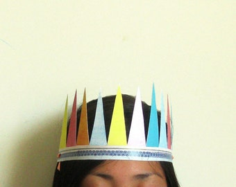 Paper Party Crown, pastel triangles party favor/costume