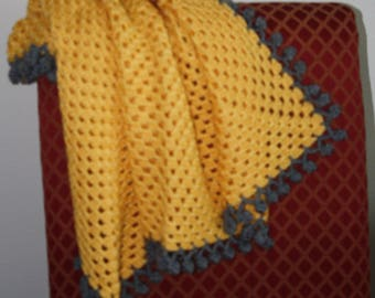 Pom-Pom Blanket  in Yellow and Gray