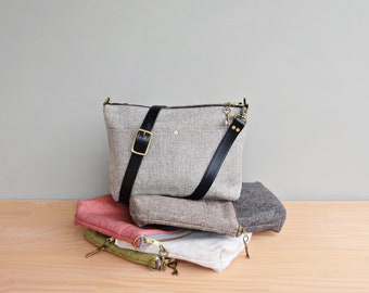 Tweed Shoulder Purse with Custom Length Leather Strap, Light Grey Medium Sized Commuter Bag, Plus Size Womens Crossbody, Handmade in the USA