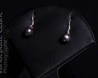 Earrings in 925 sterling silver and black cultured pearl/fresh water Pearl