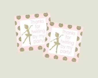 Ballerina Favor Tag for Pink and Gold Glitter Ballet Party. Instant Digital Download.