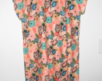 Bold floral print cotton hospital gown