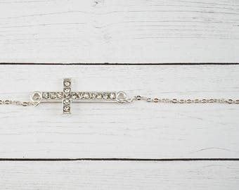 Sideways Cross Necklace, Rhinestone Necklace