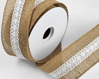 "2.5"" Burlap & Lace Trim by 10-yards Roll, MOR-7459"
