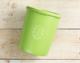 Vintage Tupperware Canister, Green Kitchenware, Cute Storage