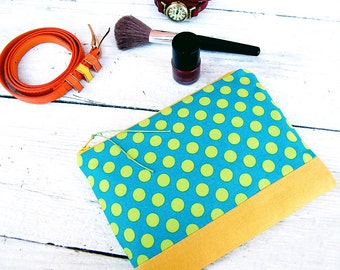 Yellow green zippered bag Makeup bag organizer Polka dots gift Fabric zip pouch Cosmetic case Large cosmetic bag Gift her wife Pencil case