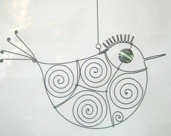 Wire Sculpture Pale Green - Eyed Metal Bird