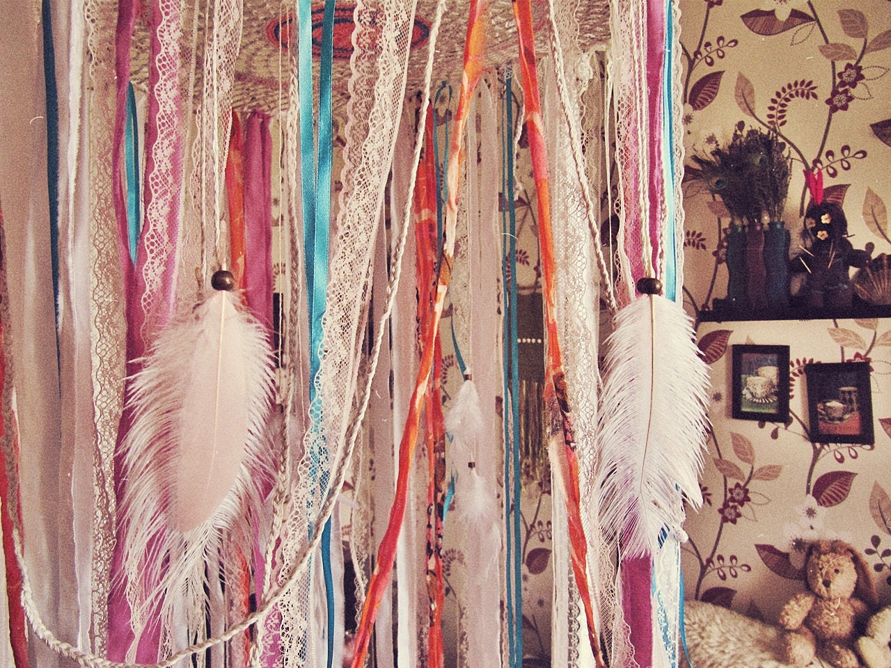 ?zoom & Bohemian Dreamcatcher Bed Canopy Boho Nursery Decor Indian