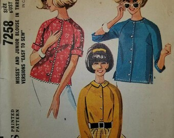 Vintage Uncut McCalls Misses and Junior Blouse  sz 14 (bust 34), in three versions, 7258